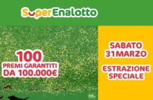 Superenalotto Estrazione di sabato 31 marzo 2018: i numeri vincenti. Montepremi del Superenalotto di questa sera è di 120,9 milioni di euro.