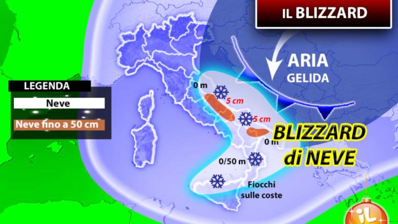 Sud Italia colpito da bufere di neve nelle prossime ore