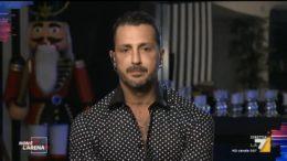 Fabrizio Corona, ospite ieri sera, in collegamento da Milano, nel corso della trasmissione Non è l'arena di Massimo Giletti