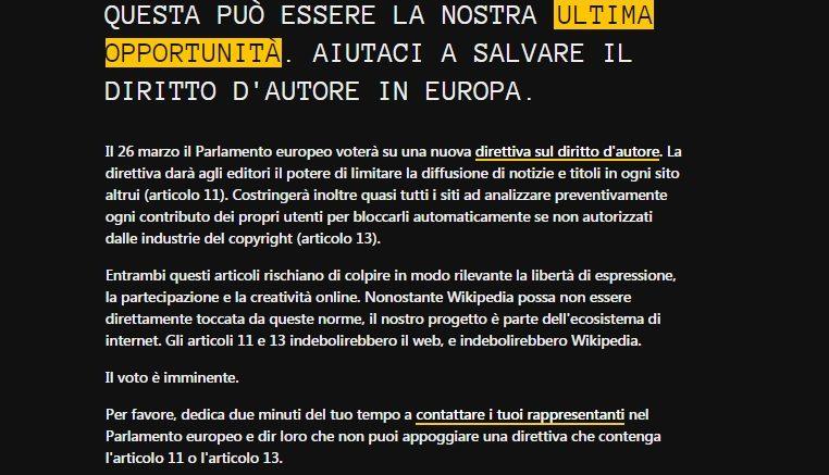 Wikipedia Italia: ecco perché il sito è oscurato? Domani il Parlamento Europeo discuterà il testo di legge sulla riforma del diritto d'autore (Copyright)