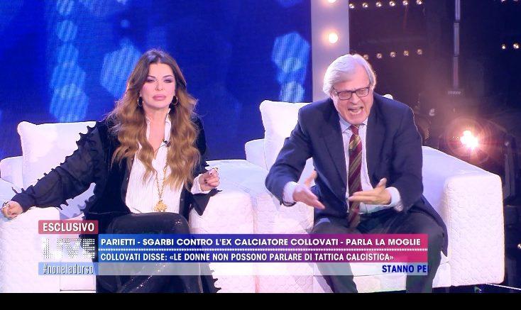 """Vittorio Sgarbi, Live D'Urso: 24 volte """"Capra"""" a Caterina Collovati. Il critico d'arte, ospite della trasmissione Live Non è la D'Urso"""