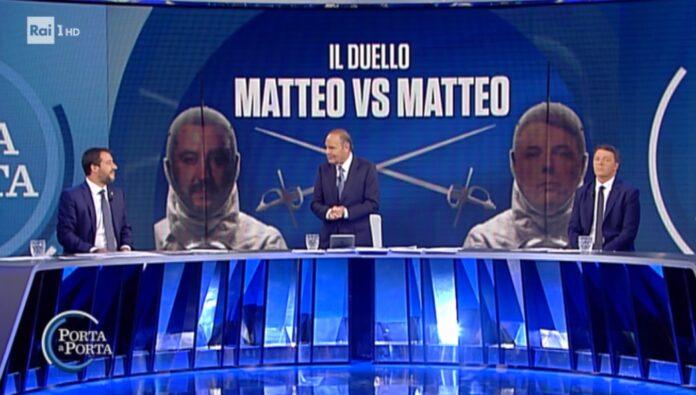 Confronto Renzi/Salvini ieri sera nella puntata di Porta a Porta condotta da Bruno Vespa. Replica della trasmissione integrale