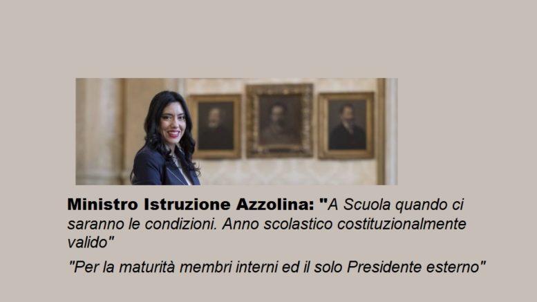 Il ministro Azzolina sul ritorno a Scuola a seguito chiusura per coronavirus