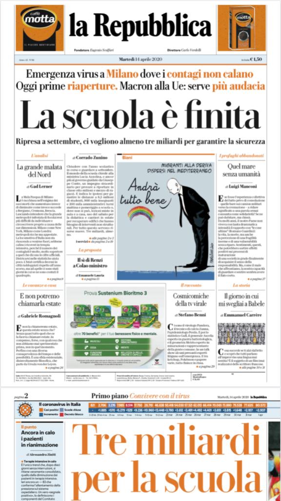 Repubblica prima pagina 14 aprile