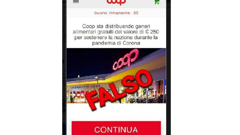 falso buono spesa gratuito COOP per emergenza coronavirus