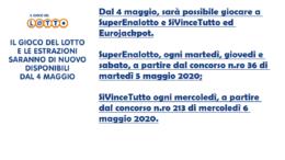 dal 4 maggio si torna a giocare al lotto, superenalotto, sivincetutto ed eurojackpot