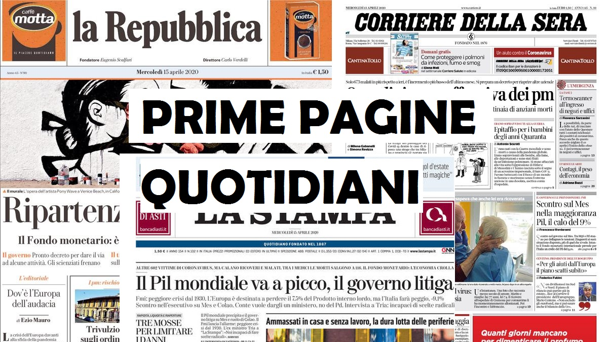 Prima Pagina Quotidiani Nazionali In Edicola Oggi Venerdì 17 Aprile 2020 Peoplexpress It