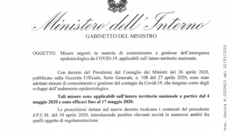 circolare viminale ministero interno prefetti emergenza coronavirus fase 2