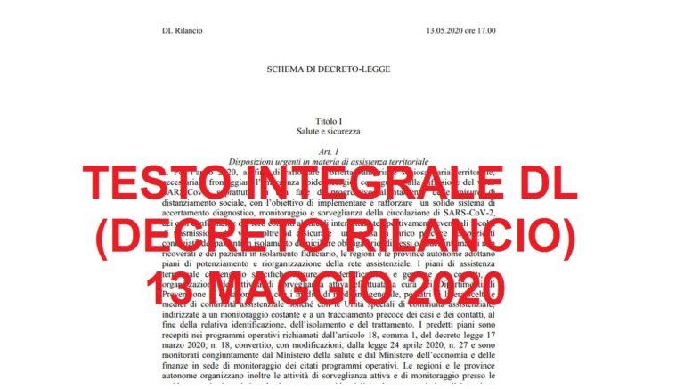 testo integrale decreto rilancio 13 maggio