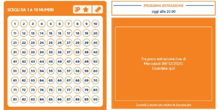 Estrazioni del Lotto e del 10eLotto di oggi mercoledì 9 dicembre